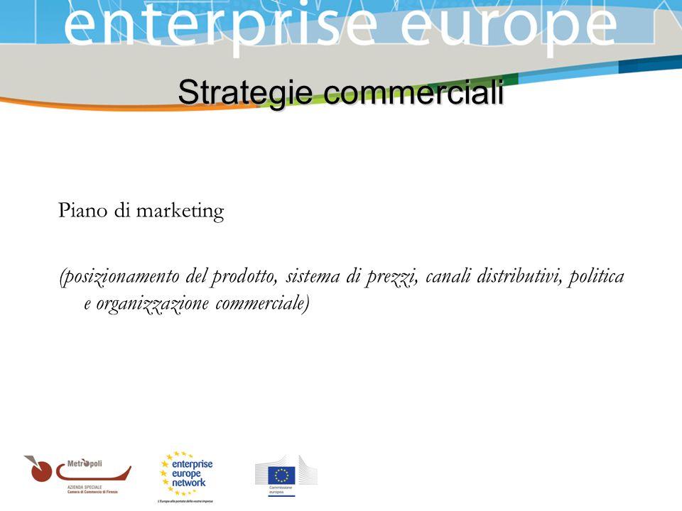 Azienda Speciale della Camera di Commercio Strategie commerciali Piano di marketing (posizionamento del prodotto, sistema di prezzi, canali distributi