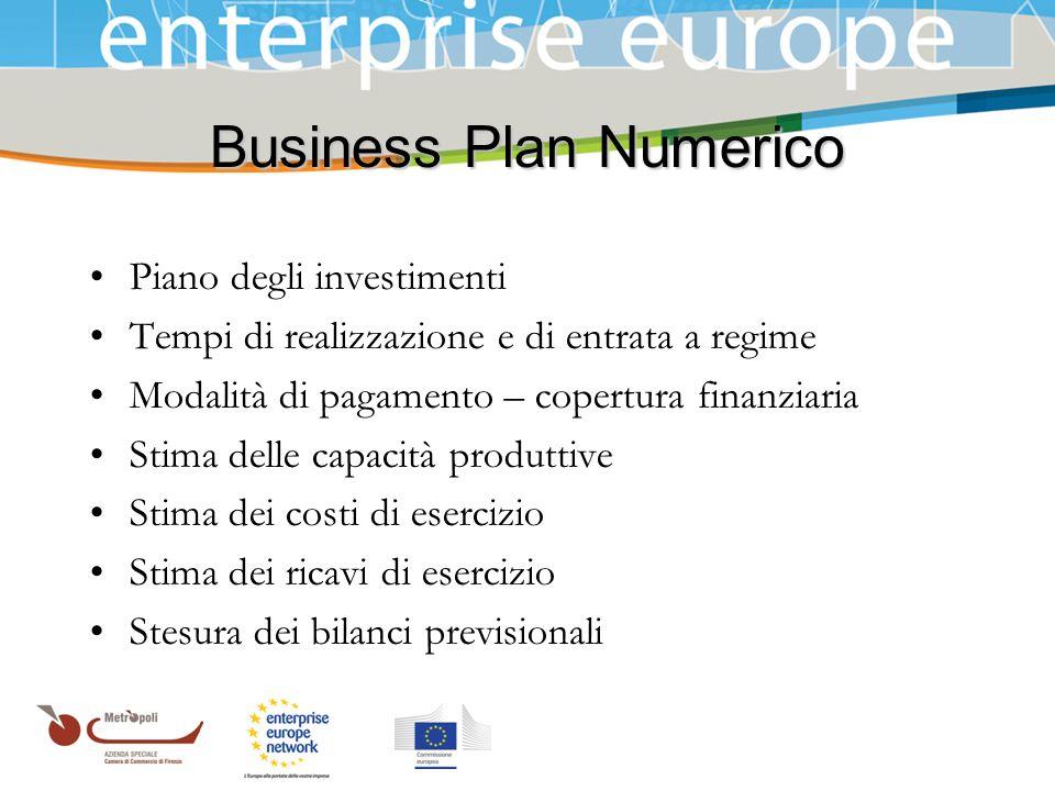 Azienda Speciale della Camera di Commercio Business Plan Numerico Piano degli investimenti Tempi di realizzazione e di entrata a regime Modalità di pa