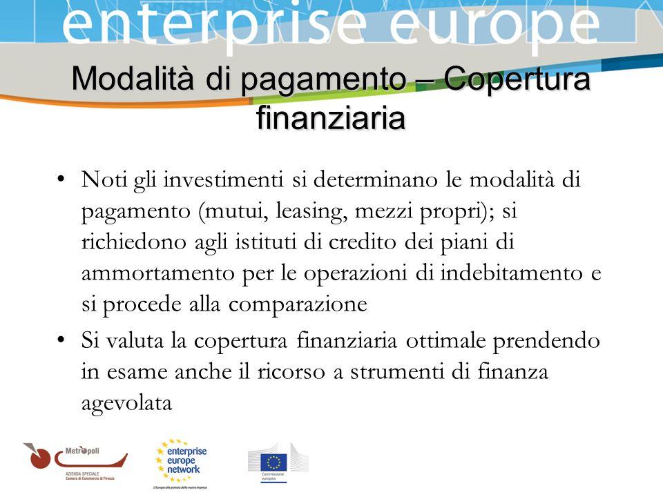 Azienda Speciale della Camera di Commercio Modalità di pagamento – Copertura finanziaria Noti gli investimenti si determinano le modalità di pagamento