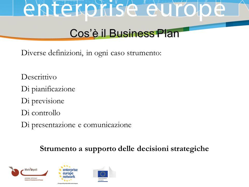 Azienda Speciale della Camera di Commercio Cosè il Business Plan Diverse definizioni, in ogni caso strumento: Descrittivo Di pianificazione Di previsi