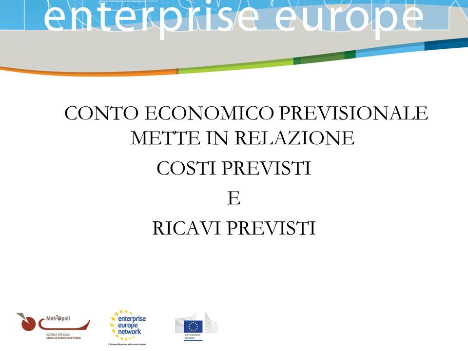 Azienda Speciale della Camera di Commercio IL CONTO ECONOMICO PREVISIONALE METTE IN RELAZIONE COSTI PREVISTI E RICAVI PREVISTI