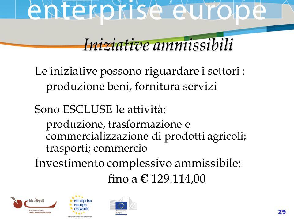Azienda Speciale della Camera di Commercio 29 Iniziative ammissibili Iniziative ammissibili Le iniziative possono riguardare i settori : produzione be