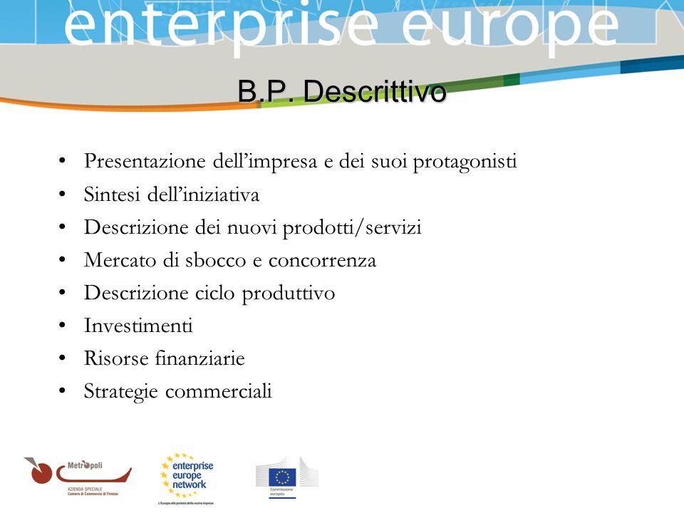Azienda Speciale della Camera di Commercio B.P. Descrittivo Presentazione dellimpresa e dei suoi protagonisti Sintesi delliniziativa Descrizione dei n