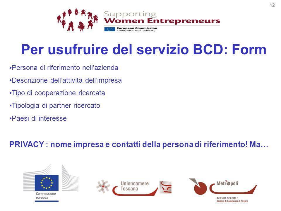 12 12 Per usufruire del servizio BCD: Form Persona di riferimento nellazienda Descrizione dellattività dellimpresa Tipo di cooperazione ricercata Tipo