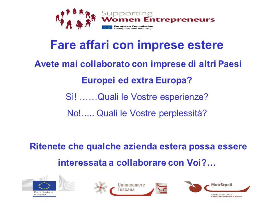 - Fare affari con imprese estere Avete mai collaborato con imprese di altri Paesi Europei ed extra Europa? Sì! ……Quali le Vostre esperienze? No!.....