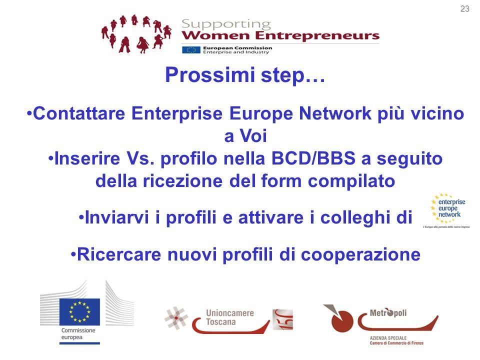 23 23 Prossimi step… Contattare Enterprise Europe Network più vicino a Voi Inserire Vs. profilo nella BCD/BBS a seguito della ricezione del form compi