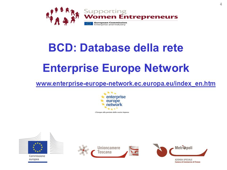 4 www.enterprise-europe-network.ec.europa.eu/index_en.htm BCD: Database della rete Enterprise Europe Network
