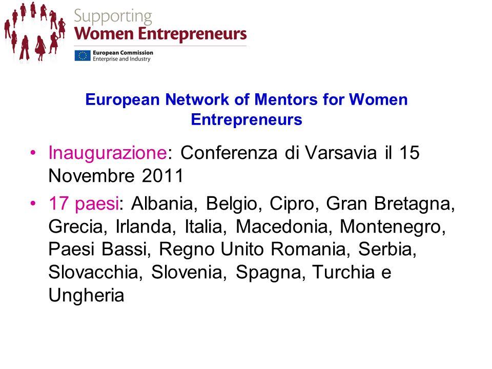 European Network of Mentors for Women Entrepreneurs Inaugurazione: Conferenza di Varsavia il 15 Novembre 2011 17 paesi: Albania, Belgio, Cipro, Gran Bretagna, Grecia, Irlanda, Italia, Macedonia, Montenegro, Paesi Bassi, Regno Unito Romania, Serbia, Slovacchia, Slovenia, Spagna, Turchia e Ungheria
