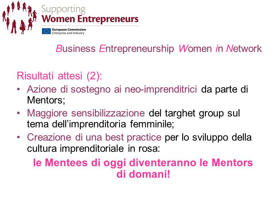 Business Entrepreneurship Women in Network Risultati attesi (2): Azione di sostegno ai neo-imprenditrici da parte di Mentors; Maggiore sensibilizzazione del targhet group sul tema dellimprenditoria femminile; Creazione di una best practice per lo sviluppo della cultura imprenditoriale in rosa: le Mentees di oggi diventeranno le Mentors di domani!