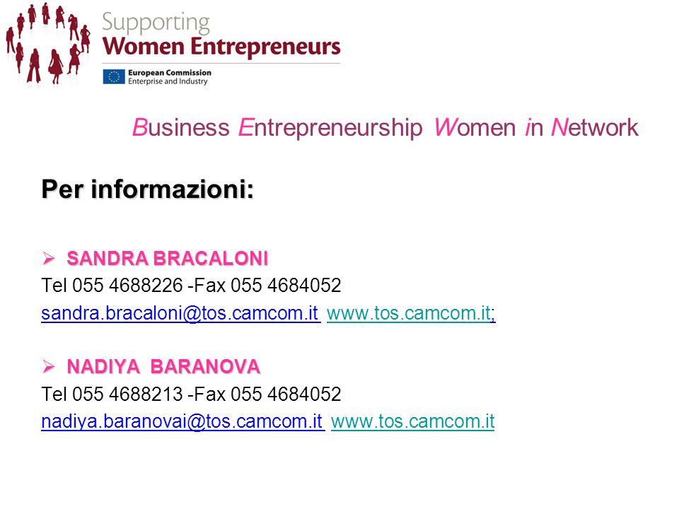 Business Entrepreneurship Women in Network Per informazioni: SANDRA BRACALONI SANDRA BRACALONI Tel 055 4688226 -Fax 055 4684052 sandra.bracaloni@tos.camcom.it www.tos.camcom.it;www.tos.camcom.it NADIYA BARANOVA NADIYA BARANOVA Tel 055 4688213 -Fax 055 4684052 nadiya.baranovai@tos.camcom.it www.tos.camcom.itwww.tos.camcom.it