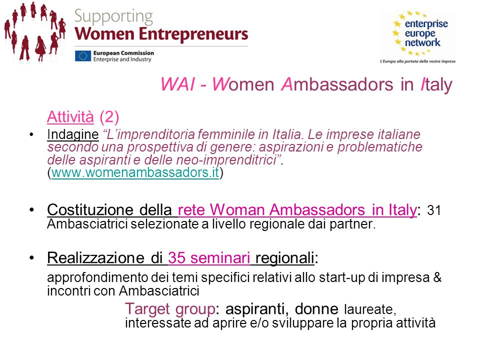 WAI - Women Ambassadors in Italy Attività (2) Indagine Limprenditoria femminile in Italia.
