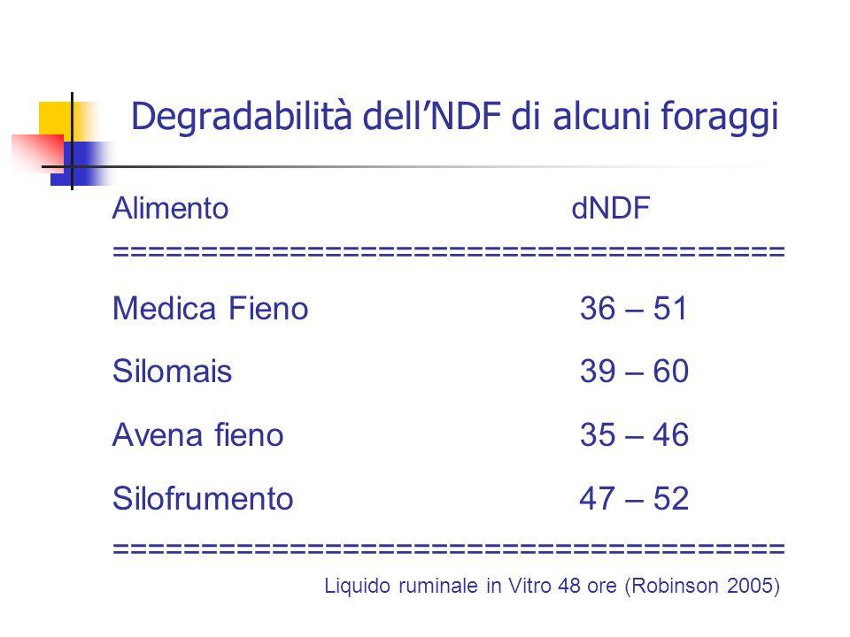 Degradabilità dellNDF di alcuni foraggi Alimento dNDF ====================================== Medica Fieno36 – 51 Silomais 39 – 60 Avena fieno35 – 46 S