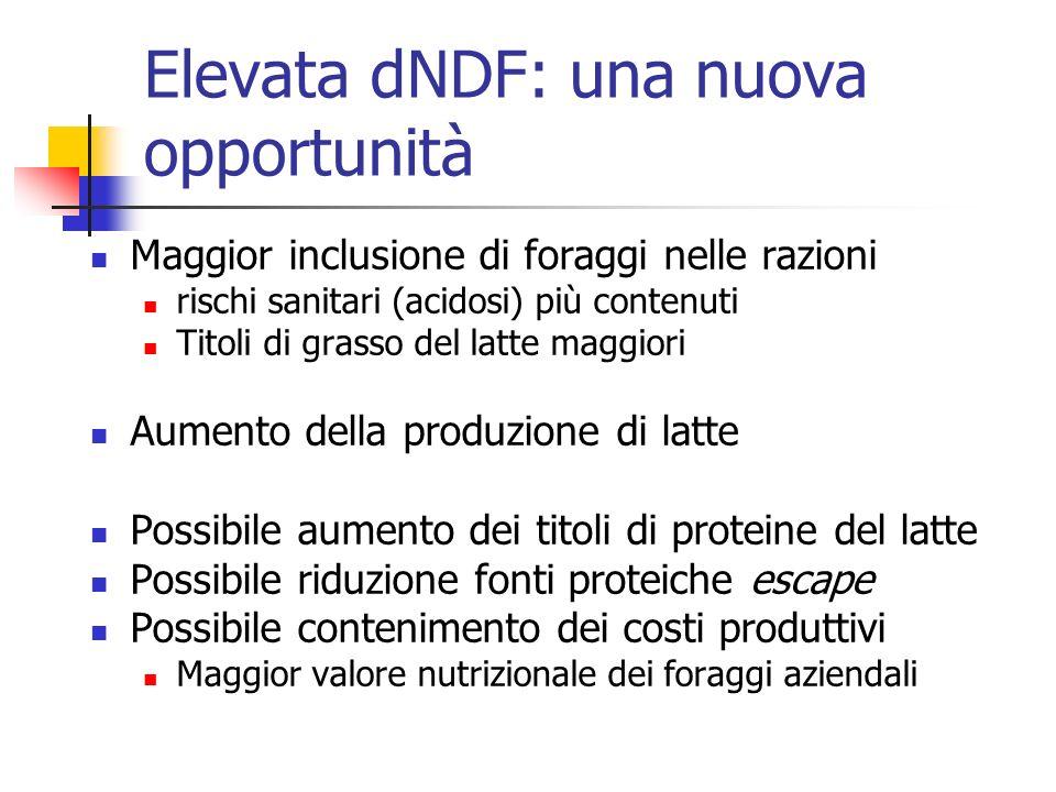 Elevata dNDF: una nuova opportunità Maggior inclusione di foraggi nelle razioni rischi sanitari (acidosi) più contenuti Titoli di grasso del latte mag