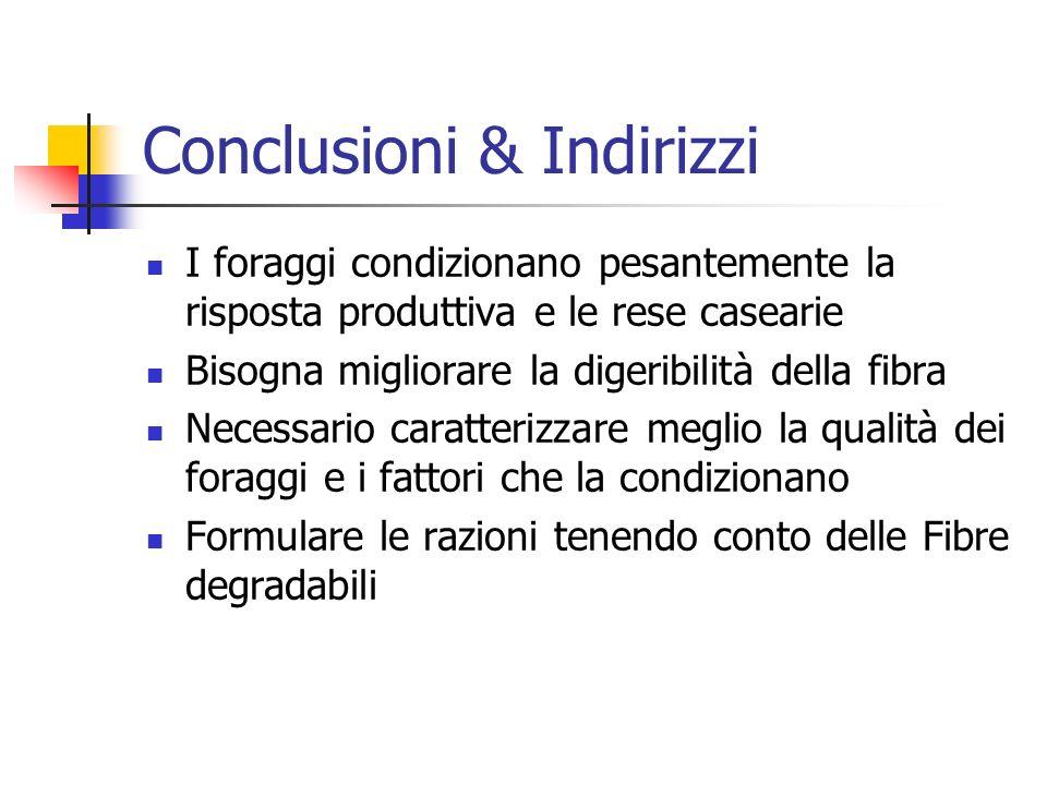 Conclusioni & Indirizzi I foraggi condizionano pesantemente la risposta produttiva e le rese casearie Bisogna migliorare la digeribilità della fibra N