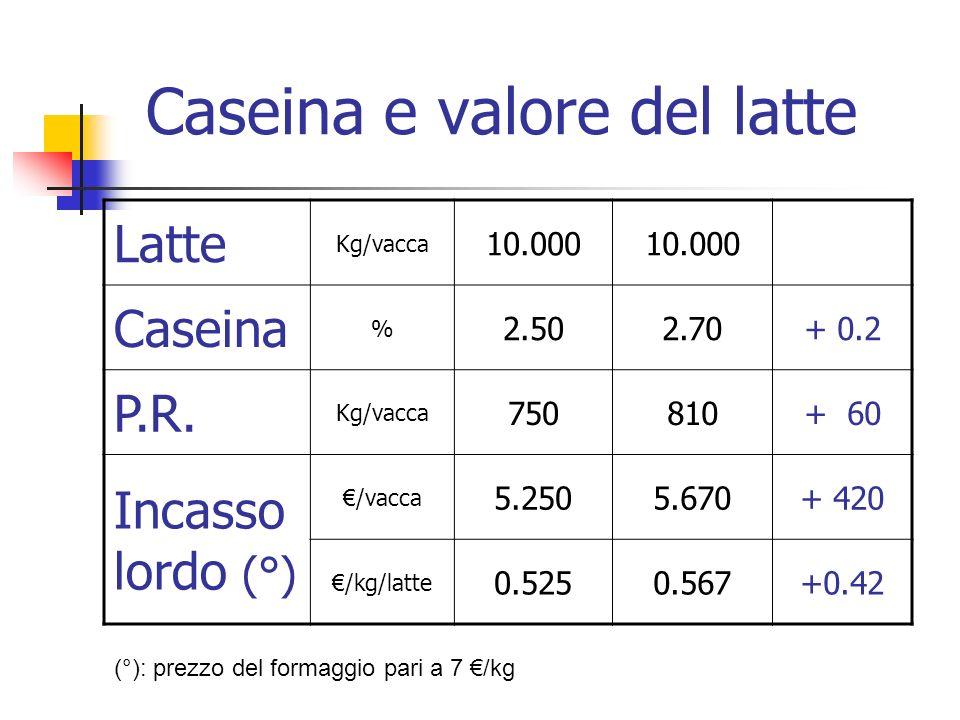 Caseina e valore del latte Latte Kg/vacca 10.000 Caseina % 2.502.70+ 0.2 P.R. Kg/vacca 750810+ 60 Incasso lordo (°) /vacca 5.2505.670+ 420 /kg/latte 0