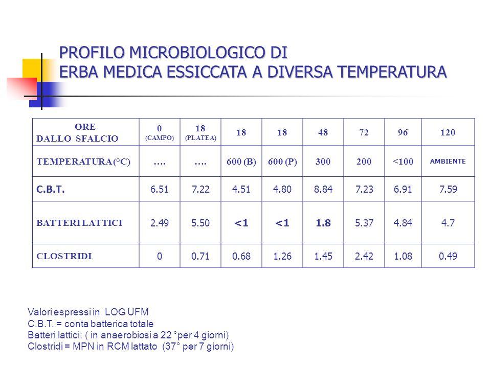 ORE DALLO SFALCIO 0 (CAMPO) 18 (PLATEA) 18 487296120 TEMPERATURA (°C)…. 600 (B)600 (P)300200<100 AMBIENTE C.B.T.6.517.224.514.808.847.236.917.59 BATTE
