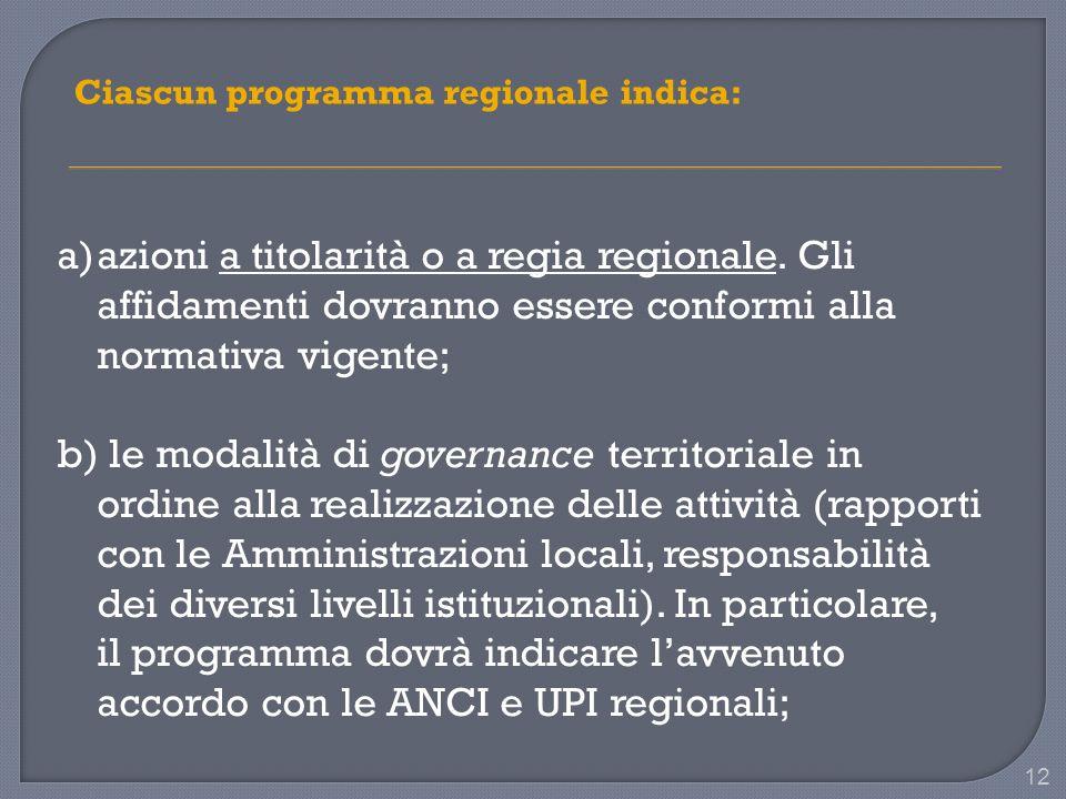 12 Ciascun programma regionale indica: a)azioni a titolarità o a regia regionale.