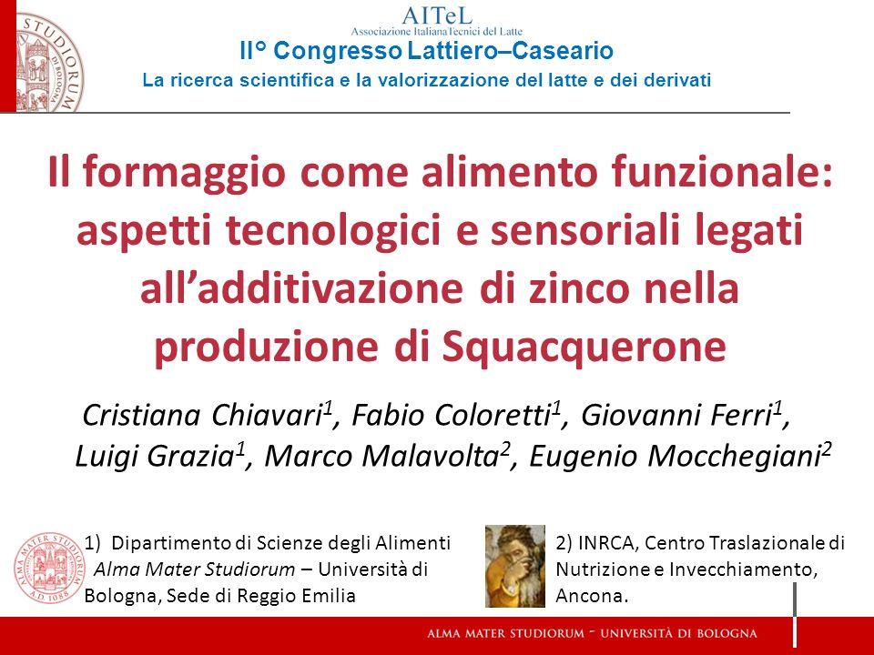 1) Dipartimento di Scienze degli Alimenti Alma Mater Studiorum – Università di Bologna, Sede di Reggio Emilia 2) INRCA, Centro Traslazionale di Nutriz
