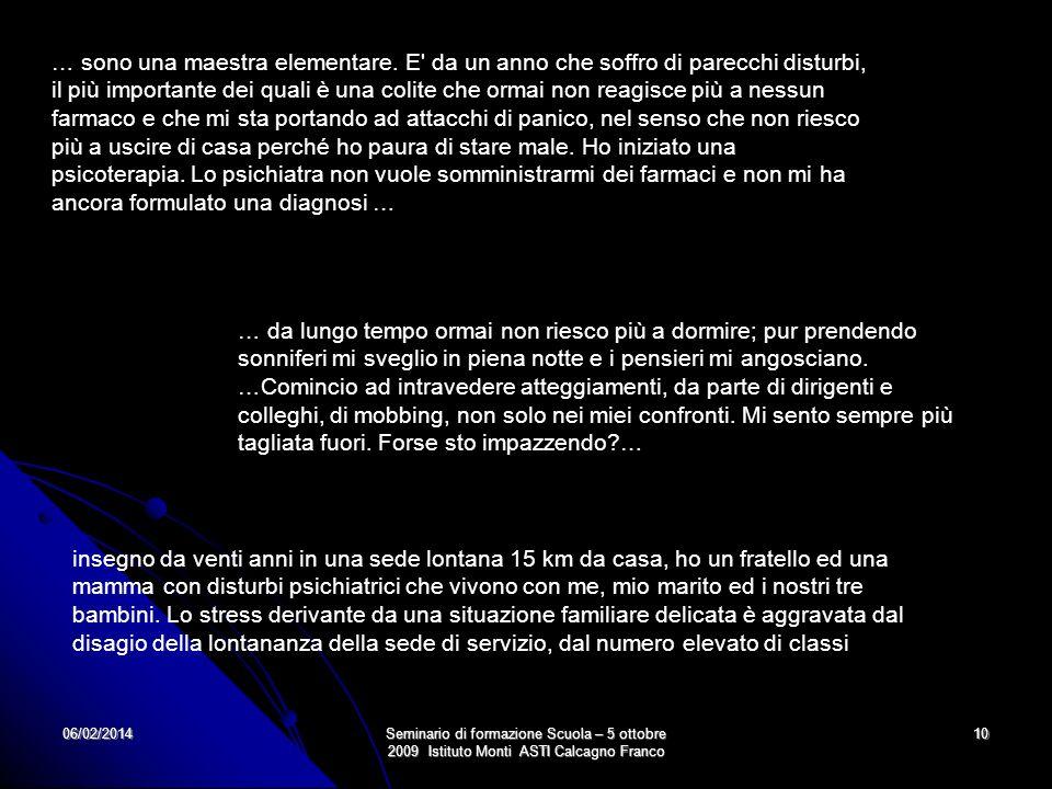 06/02/2014Seminario di formazione Scuola – 5 ottobre 2009 Istituto Monti ASTI Calcagno Franco 10 … sono una maestra elementare. E' da un anno che soff
