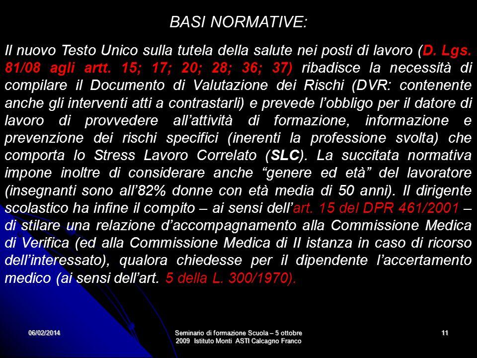 06/02/2014Seminario di formazione Scuola – 5 ottobre 2009 Istituto Monti ASTI Calcagno Franco 11 BASI NORMATIVE: Il nuovo Testo Unico sulla tutela del