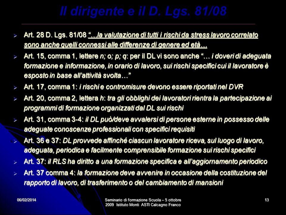 06/02/2014Seminario di formazione Scuola – 5 ottobre 2009 Istituto Monti ASTI Calcagno Franco 13 Art. 28 D. Lgs. 81/08 …la valutazione di tutti i risc