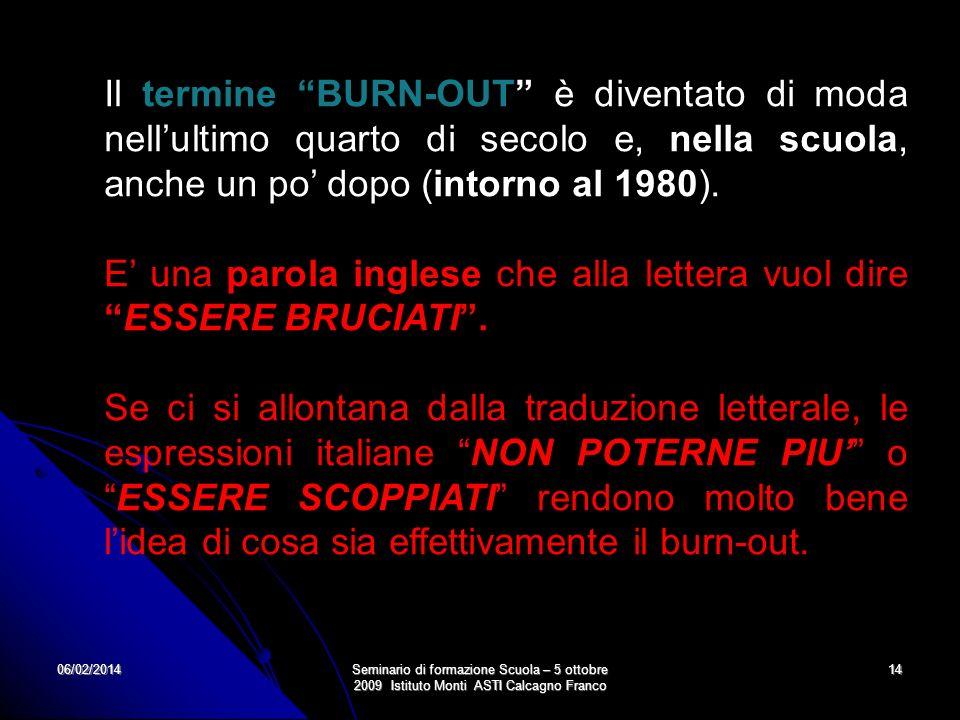 06/02/2014Seminario di formazione Scuola – 5 ottobre 2009 Istituto Monti ASTI Calcagno Franco 14 Il termine BURN-OUT è diventato di moda nellultimo qu