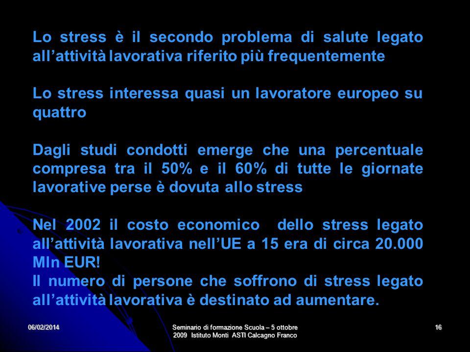 06/02/2014Seminario di formazione Scuola – 5 ottobre 2009 Istituto Monti ASTI Calcagno Franco 16 Lo stress è il secondo problema di salute legato alla