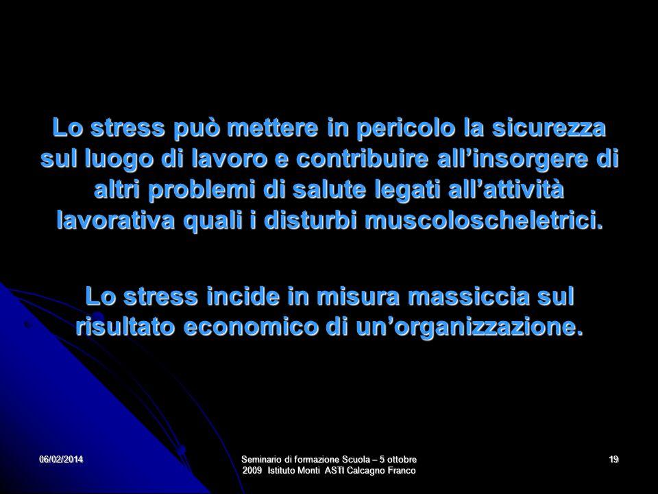 06/02/2014Seminario di formazione Scuola – 5 ottobre 2009 Istituto Monti ASTI Calcagno Franco 19 Lo stress può mettere in pericolo la sicurezza sul lu