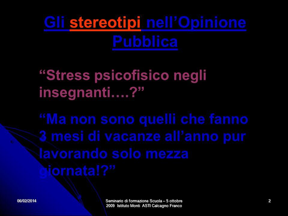 06/02/2014Seminario di formazione Scuola – 5 ottobre 2009 Istituto Monti ASTI Calcagno Franco 2 Stress psicofisico negli insegnanti….? Ma non sono que