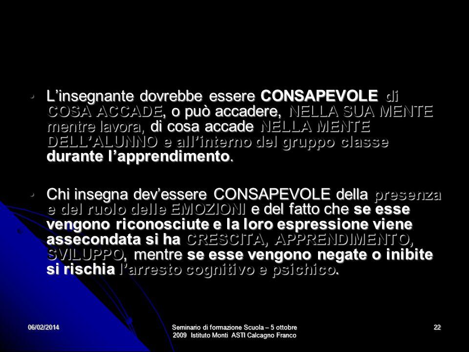 06/02/2014Seminario di formazione Scuola – 5 ottobre 2009 Istituto Monti ASTI Calcagno Franco 22 Linsegnante dovrebbe essere CONSAPEVOLE di COSA ACCAD
