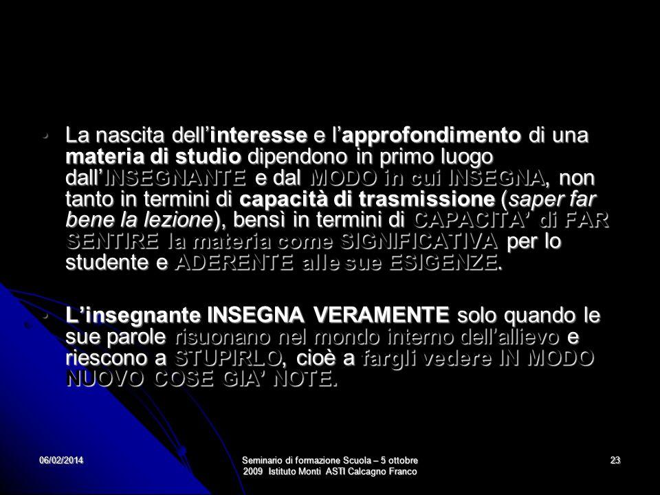 06/02/2014Seminario di formazione Scuola – 5 ottobre 2009 Istituto Monti ASTI Calcagno Franco 23 La nascita dellinteresse e lapprofondimento di una ma