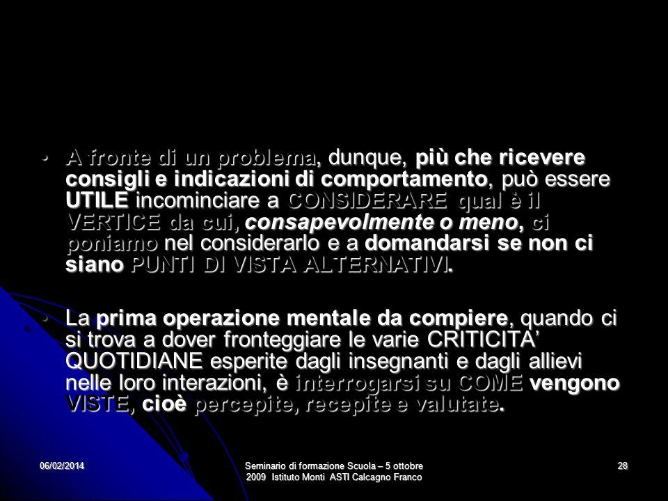 06/02/2014Seminario di formazione Scuola – 5 ottobre 2009 Istituto Monti ASTI Calcagno Franco 28 A fronte di un problema, dunque, più che ricevere con