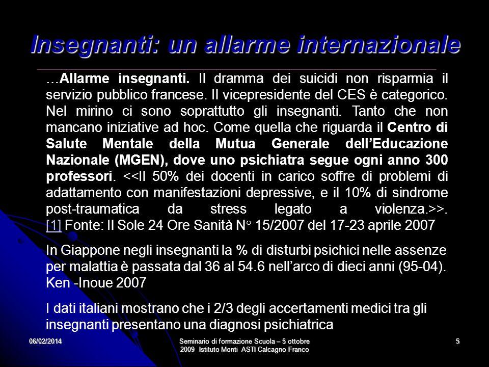06/02/2014Seminario di formazione Scuola – 5 ottobre 2009 Istituto Monti ASTI Calcagno Franco 5 Insegnanti: un allarme internazionale …Allarme insegna