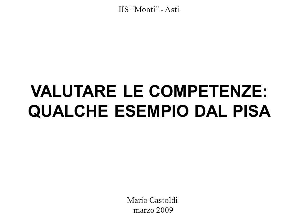 Mario Castoldi marzo 2009 IIS Monti - Asti VALUTARE LE COMPETENZE: QUALCHE ESEMPIO DAL PISA