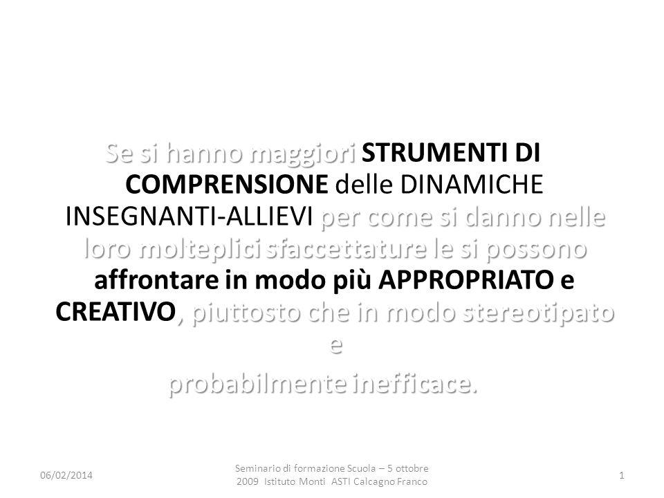 06/02/2014 Seminario di formazione Scuola – 5 ottobre 2009 Istituto Monti ASTI Calcagno Franco 12 2.