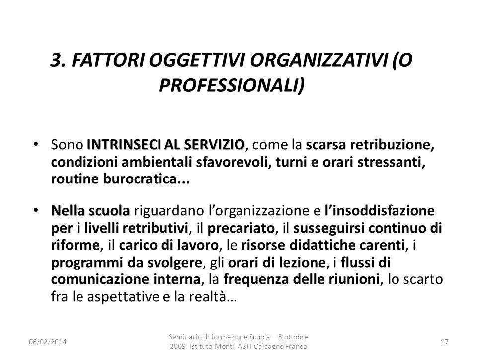 06/02/2014 Seminario di formazione Scuola – 5 ottobre 2009 Istituto Monti ASTI Calcagno Franco 17 3. FATTORI OGGETTIVI ORGANIZZATIVI (O PROFESSIONALI)