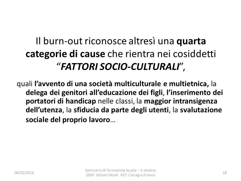 06/02/2014 Seminario di formazione Scuola – 5 ottobre 2009 Istituto Monti ASTI Calcagno Franco 18 Il burn-out riconosce altresì una quarta categorie d