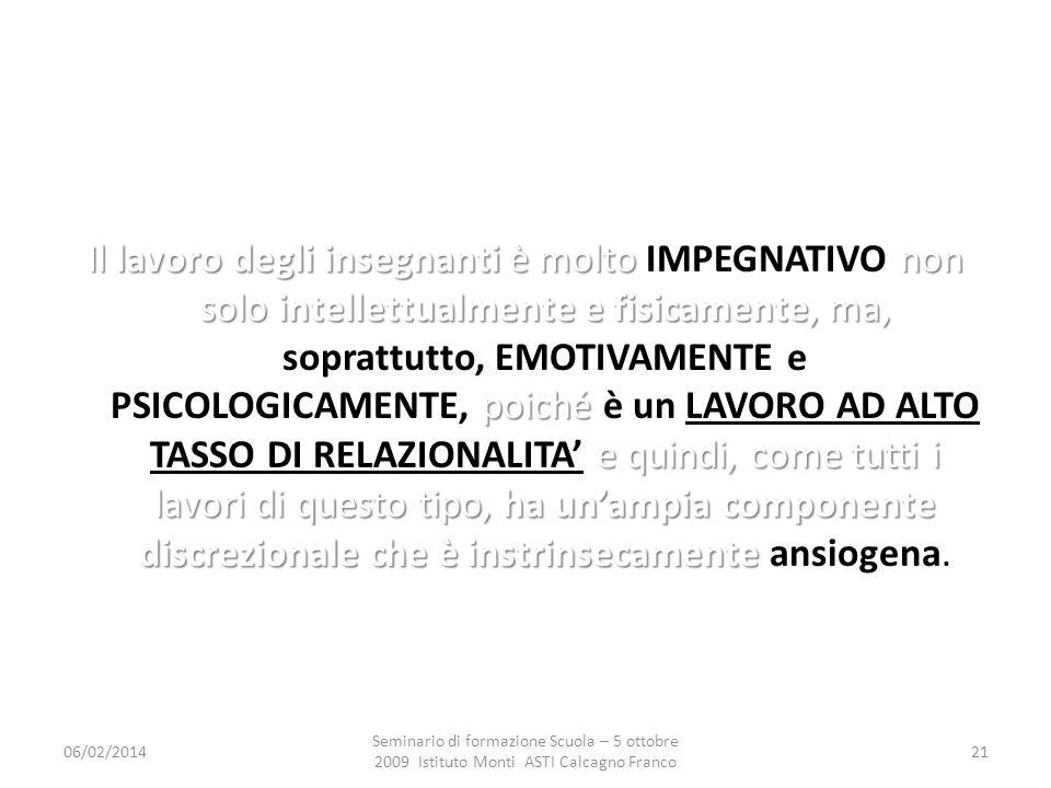 06/02/2014 Seminario di formazione Scuola – 5 ottobre 2009 Istituto Monti ASTI Calcagno Franco 21 Il lavoro degli insegnanti è molto non solo intellet