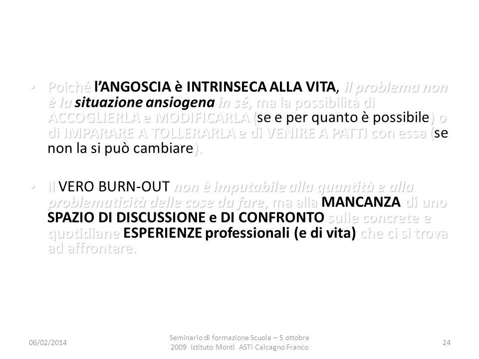 06/02/2014 Seminario di formazione Scuola – 5 ottobre 2009 Istituto Monti ASTI Calcagno Franco 24 Poiché il problema non è la in sé, ma la possibilità