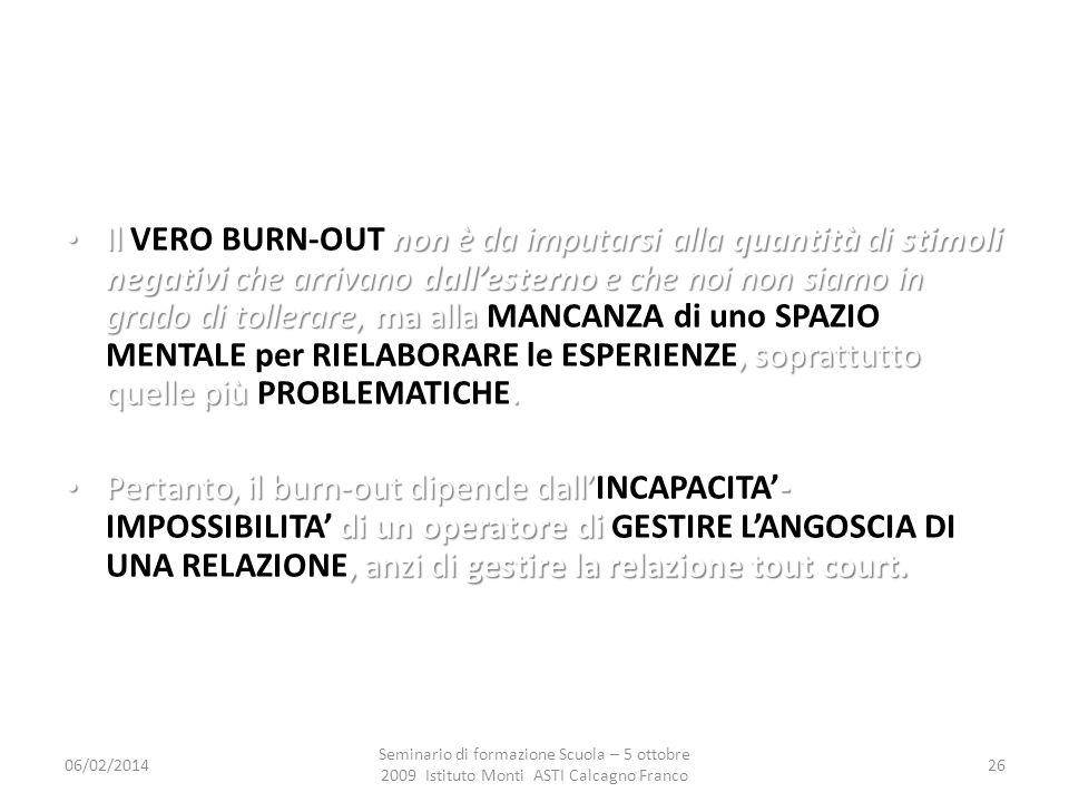 06/02/2014 Seminario di formazione Scuola – 5 ottobre 2009 Istituto Monti ASTI Calcagno Franco 26 Il non è da imputarsi alla quantità di stimoli negat
