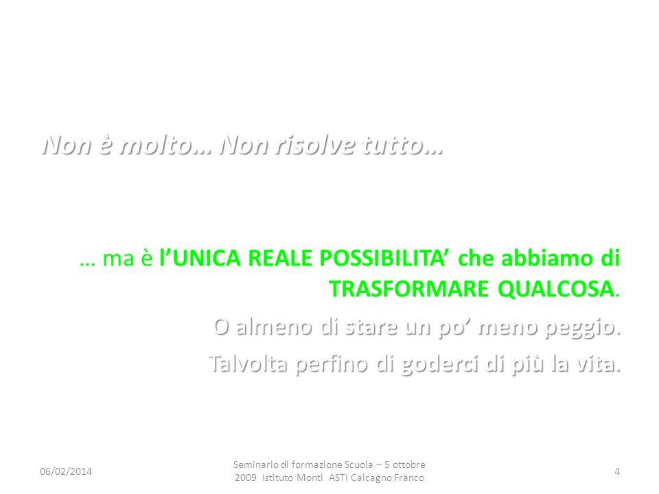 06/02/2014 Seminario di formazione Scuola – 5 ottobre 2009 Istituto Monti ASTI Calcagno Franco 15 1.