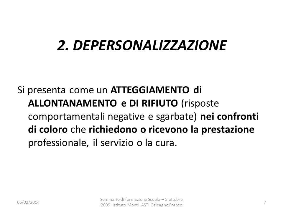 06/02/2014 Seminario di formazione Scuola – 5 ottobre 2009 Istituto Monti ASTI Calcagno Franco 7 2. DEPERSONALIZZAZIONE risposte comportamentali negat