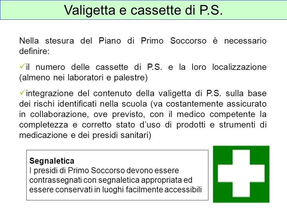 Valigetta e cassette di P.S. Nella stesura del Piano di Primo Soccorso è necessario definire: il numero delle cassette di P.S. e la loro localizzazion