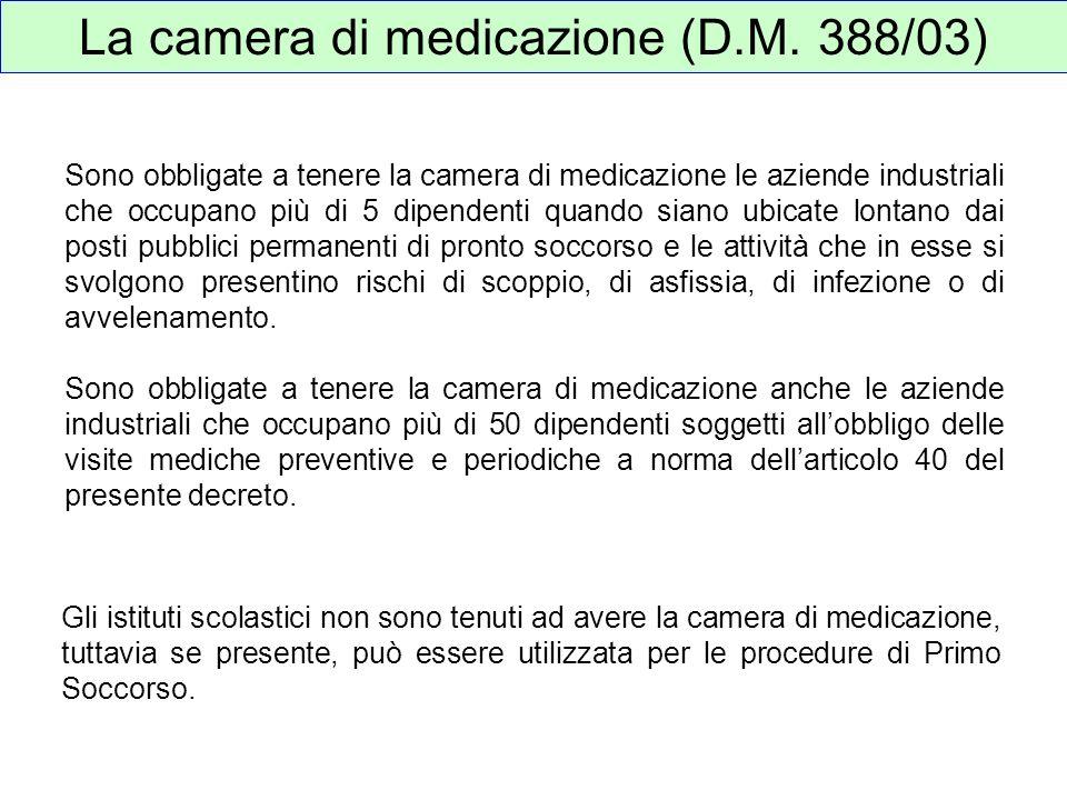 La camera di medicazione (D.M. 388/03) Sono obbligate a tenere la camera di medicazione le aziende industriali che occupano più di 5 dipendenti quando