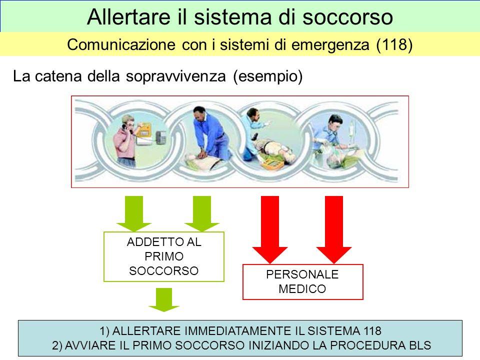 Allertare il sistema di soccorso Comunicazione con i sistemi di emergenza (118) La catena della sopravvivenza (esempio) ADDETTO AL PRIMO SOCCORSO PERS