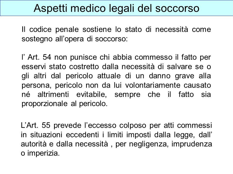 Aspetti medico legali del soccorso Il codice penale sostiene lo stato di necessità come sostegno allopera di soccorso: l Art. 54 non punisce chi abbia