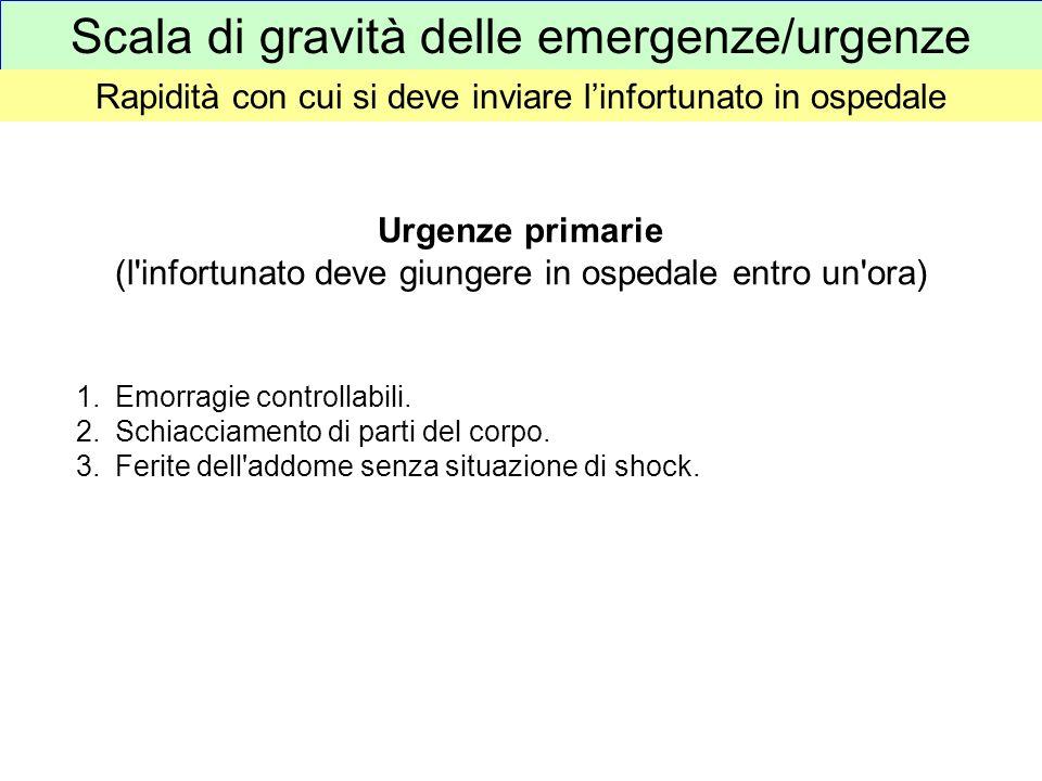 Scala di gravità delle emergenze/urgenze Rapidità con cui si deve inviare linfortunato in ospedale Urgenze primarie (l'infortunato deve giungere in os