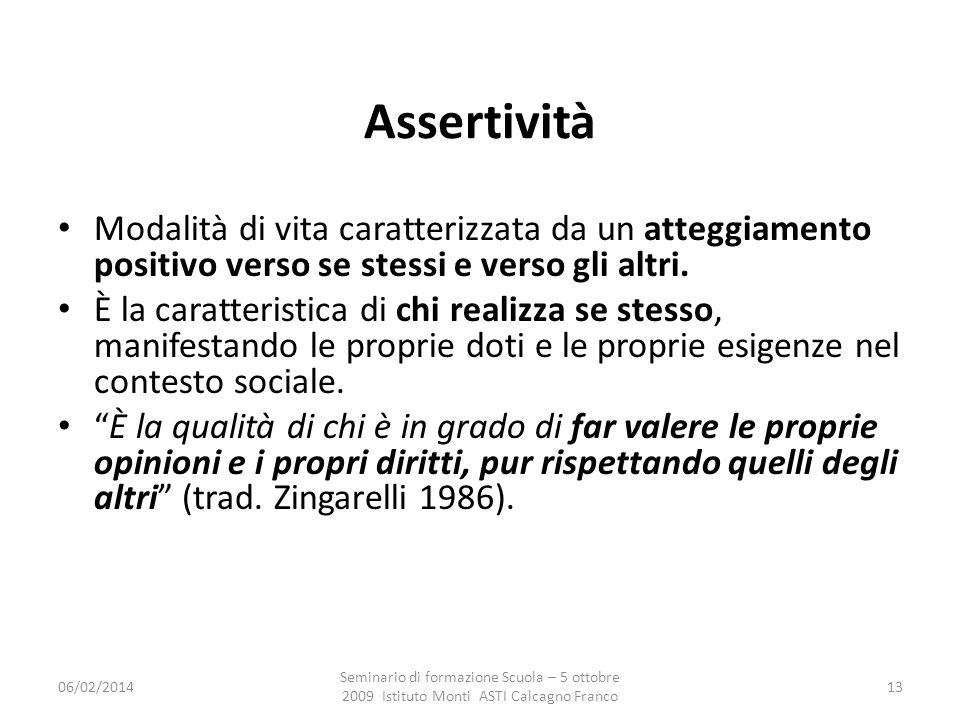 06/02/2014 Seminario di formazione Scuola – 5 ottobre 2009 Istituto Monti ASTI Calcagno Franco 13 Assertività atteggiamento positivo verso se stessi e verso gli altri.