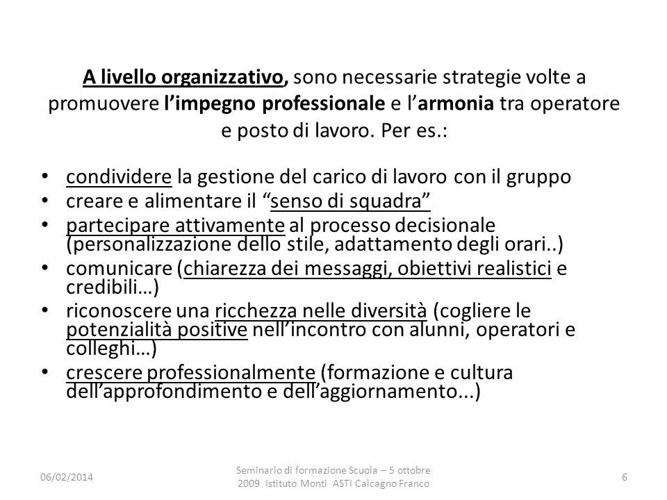 06/02/2014 Seminario di formazione Scuola – 5 ottobre 2009 Istituto Monti ASTI Calcagno Franco 6 A livello organizzativo, sono necessarie strategie volte a promuovere limpegno professionale e larmonia tra operatore e posto di lavoro.