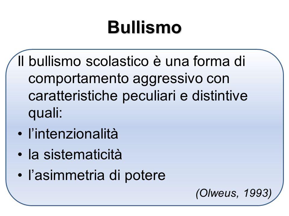 Bullismo Il bullismo scolastico è una forma di comportamento aggressivo con caratteristiche peculiari e distintive quali: lintenzionalità la sistematicità lasimmetria di potere (Olweus, 1993)